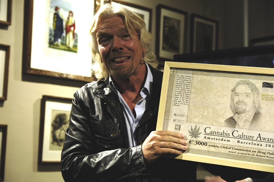 Richard Branson proudly showing his Cannabis Culture Award 2012