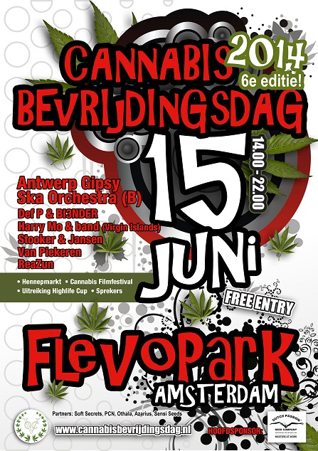 English info 6th Cannabis Liberation Day June 15 Amsterdam