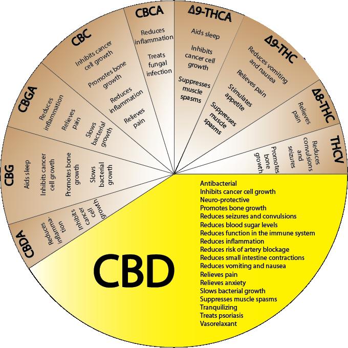 Een aantal cannabinoïden en hun specifieke werkzaamheid en effect (klik voor grote versie)