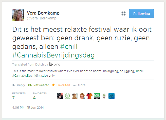 Tweet by Vera Bergkamp, member of Dutch parliament for D66